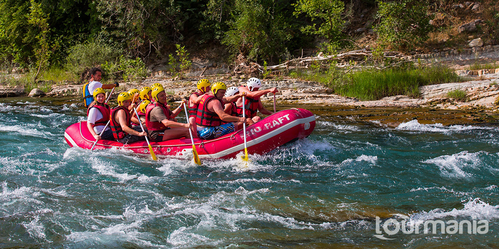 White Water Rafting at Köprülü Canyon from Side